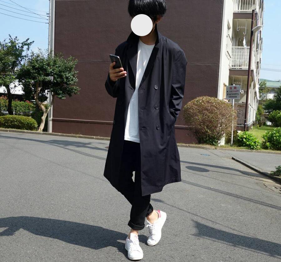 ユニクロU コーデ ブロックテックコート+E